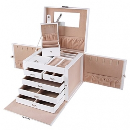 Schmuckkästchen mit 5 Schubladen und Spiegel in Weiß