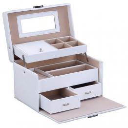 Schmuckkästchen mit Spiegel und 2 Schubladen in Weiß