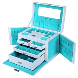 Songmics 26,5 x 19 x 20 cm Schmuckkoffer Schmuckkästchen Abschließbar mit spiegel Schublade JBC212L -