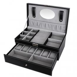 Songmics Uhrenbox Schmuckkästchen Für 6 Uhren + schublade JWB11B -